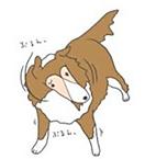 耳をふる犬
